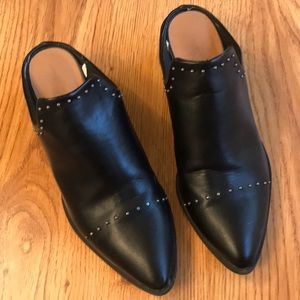 Black slip on boots/mules